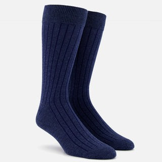 Wide Ribbed Heather Navy Dress Socks