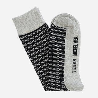 Tie Bar x Michel Men Monogram Grey Dress Sock