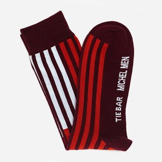Tie Bar x Michel Men Modern Striped  Burgundy Dress Sock