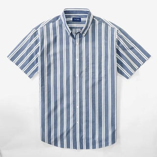 Awning Stripe Blue Short Sleeve Shirt