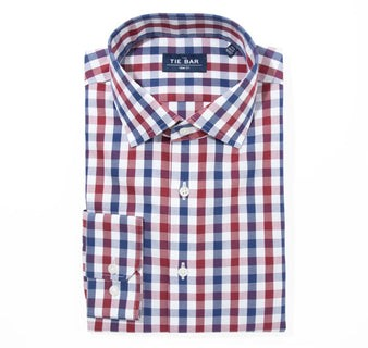 Large Two Color Gingham Burgundy Non-Iron Dress Shirt