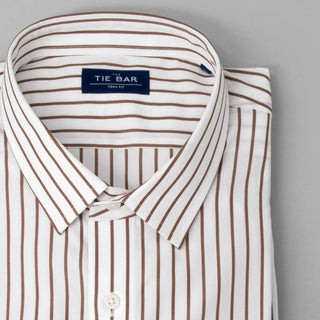 Pencil Pinstripe Brown Dress Shirt