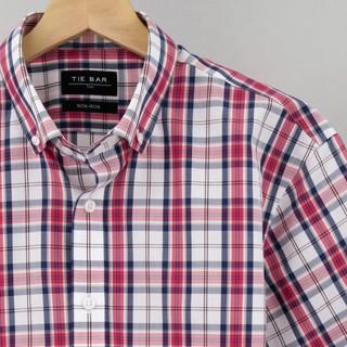 Summer Plaid Navy Non-Iron Dress Shirt