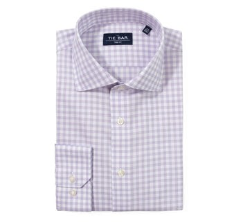 Heathered Gingham Lavender Non-Iron Dress Shirt