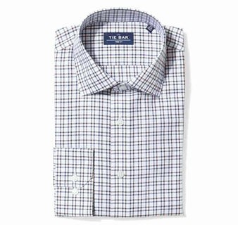 Two Tone Tattersall Burgundy Non-Iron Dress Shirt