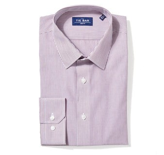 Vertical Stripe Burgundy Non-Iron Dress Shirt