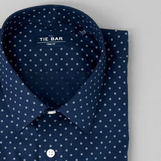 Printed Dot Navy Dress Shirt