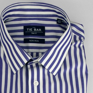 Oversized Vertical Stripe Blue Non-Iron Dress Shirt