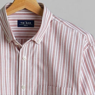 Oxford Vertical Stripe Washed Burgundy Casual Shirt