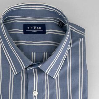 Double Vertical Stripe Blue Dress Shirt