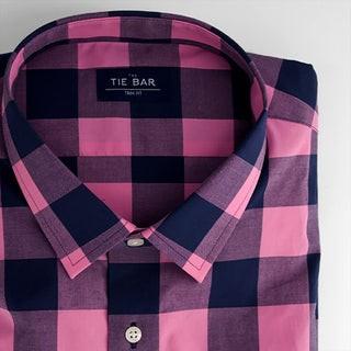 Buffalo Check Bright Pink Dress Shirt