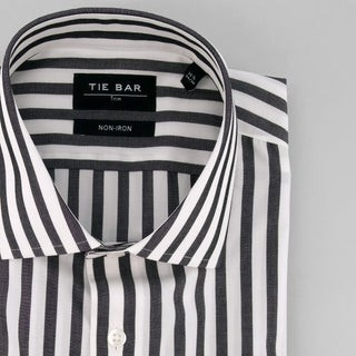 Cabana Stripe Black Non-Iron Dress Shirt