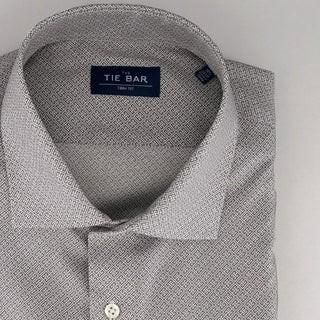 Square Motif Print Grey Dress Shirt