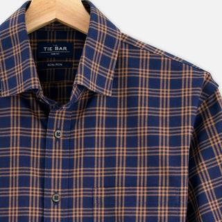 Checked Flannel Navy Non-Iron Casual Shirt