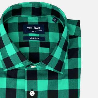 New Buffalo Check Sea Green Non-Iron Dress Shirt