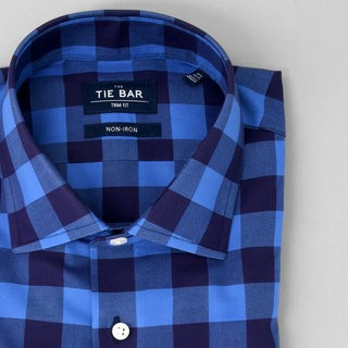 New Buffalo Check Petrol Blue Non-Iron Dress Shirt