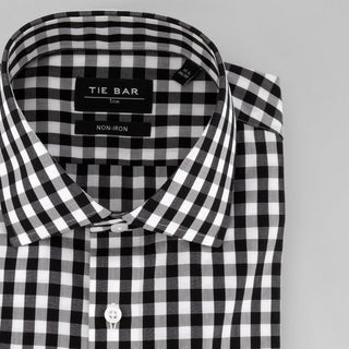Oversized Gingham Black Non-Iron Dress Shirt