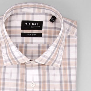Classic Dress Plaid Khaki Dress Shirt