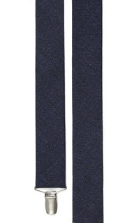 Wool Suiting Solid Navy Suspender