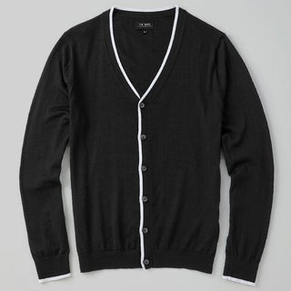 Perfect Tipped Merino Wool Cardigan Black Sweater