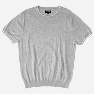 Tipped Crewneck Grey T-Shirt