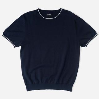 Tipped Crewneck Navy T-Shirt