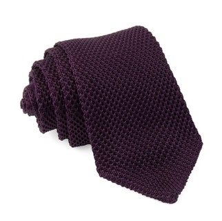 Pointed Tip Knit Eggplant Tie