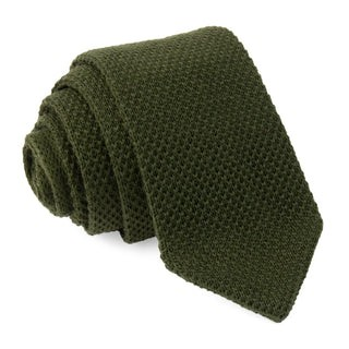 Wool Pointed Tip Knit Hunter Green Tie