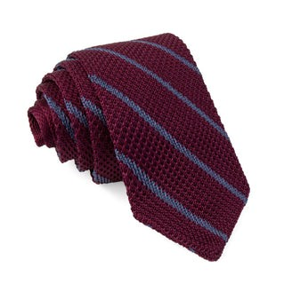 Striped Pointed Tip Knit Burgundy Tie