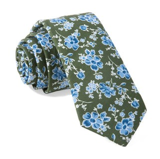 Walnut Street Floral Hunter Green Tie
