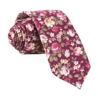 Moody Florals Burgundy Tie