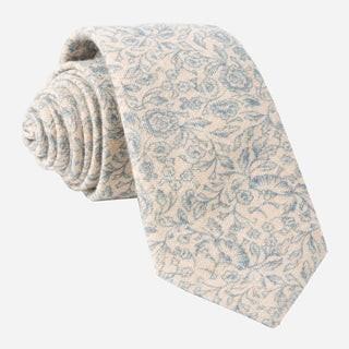 Brushed Cotton Floral Doodles Champagne Tie