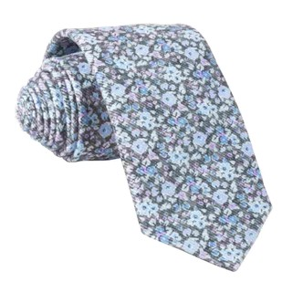 Corduroy Freesia Floral Charcoal Tie