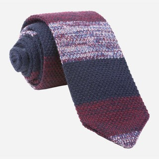 Striped Sweater Knit Burgundy Tie