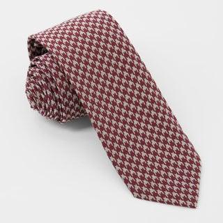 Royal Houndstooth Burgundy Tie