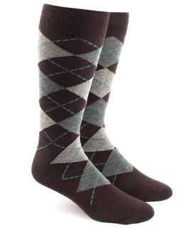 Argyle Brown Dress Socks