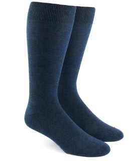 Solid Texture Navy Dress Socks