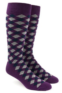 Textured Diamonds Eggplant Dress Socks