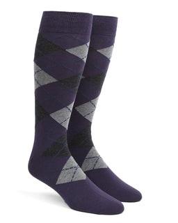 Argyle Purple Dress Socks