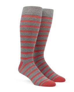 Trad Stripe Coral Dress Socks