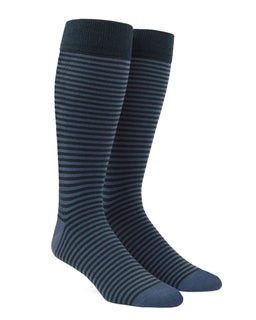 Thin Stripes Slate Blue Dress Socks