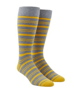 Path Stripe Yellow Gold Dress Socks