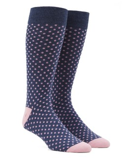 Pindot Pink Dress Socks