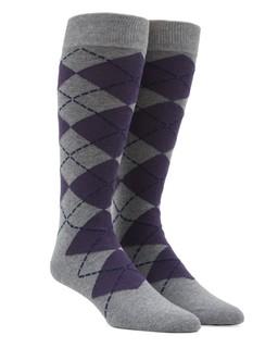 New Argyle Purple Dress Socks