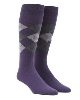 Panel Argyle Purple Dress Socks