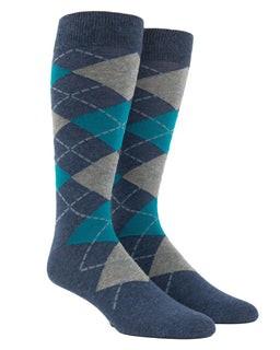 Argyle Deep Teal Dress Socks