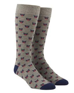 The Signature Owl Sock Grey Dress Socks