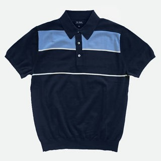 Color Blocked Cotton Sweater Navy Polo