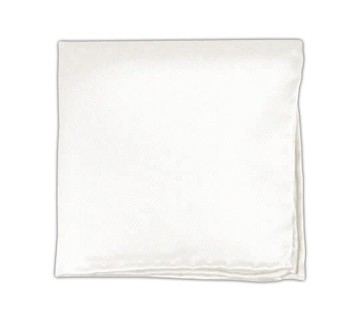 Solid Twill White Pocket Square