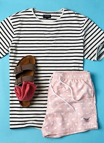 Take pride in your summer style with t-shirts, swim trunks and more.